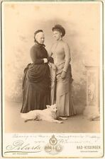 Queen Marie of Hannover  (1818-1907)  & daughter Marie (1849-1904) + dog 1880s