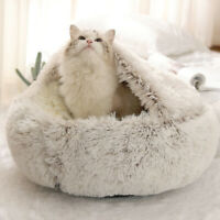 Winter Cat Bed Round Plush Warm Soft Long Plush Pet Puppy Cat Bed Nest 2 In 1