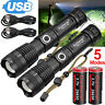 990000LM XHP70 XHP50 USB Rechargeable Flashlight Zoom Torch 26650/18650 light US
