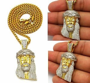 MENS MICRO GOLD JESUS PENDANT STAINLESS STEEL PEARL CHAIN NECKLACE  SET HIP HOP