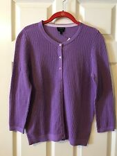 Talbots Button Front Cardigan Knit Sweater Cotton Size S Purple NWT RET 74.50