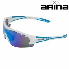 ARINA REVOLUTION CYCLING SUNGLASSES WHITE / BLUE MIRRORED LENS UV400 protection