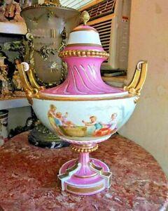 Antique French Sevres Porcelain Urn with Lid, XIX C.