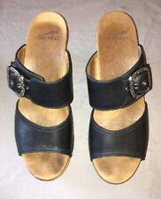 Dansko black leather platform sandals size 39
