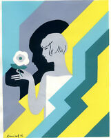 1930s French Pochoir Print Art Deco Young Woman Holding White Flower (L)