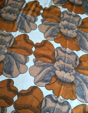 VTG 60s 70s Fabric Curtain Lightweight Sheer Floral Brown Textile Finland