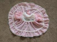 Vintage ALEXIS Baby Girl Dress Pink White Lace Swiss Dot Polkadot Ruffles 6 mos