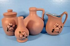 Pigeon Forge Pottery Lot, Creamer, Covered Crock, Jug, Vase Tennessee Dogwood