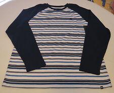 Hurley shirt long sleeve Men's XL Striper MKT0006390 45B navy blue white XL