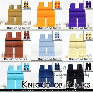 LEGO Minifigure Legs Red Black White Blue Gray Orange Purple Brown Solid Jean