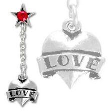 Alchemy UL17 Red Crystal Love Heart Dangler Single Drop Earring Pewter ULFE7