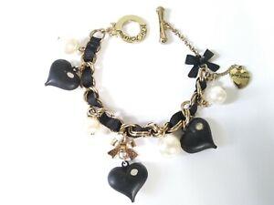 Betsey Johnson Vintage Black Heart Bow And Pearl Bracelet