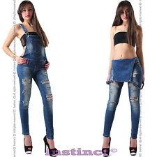 Salopette jeans strappi  donna tuta intera overall  tutina  skinny  nuova IS5045