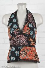 Kay Unger woman's top size 8 black red halter lace V neck back zip silk casual