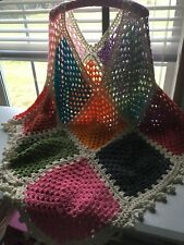 Hand Knitted Poncho Cape Women's One Size Ball Fringe BOHO Hippie