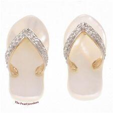 14k Yellow Gold Diamond & Flip-Flop Slipper Design; Mother of Pearl Earrings TPJ
