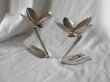 Set of 2 Floral Design Candle Holders Made from Silver-plated Spoons & Forks