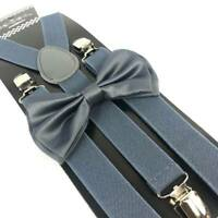 Dark Grey Bow Tie & Suspender Set Tuxedo Wedding Formal Men's Accessories