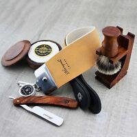 Vintage Shaving Straight Razor/Cut Throat & Silver tip Brush SOAP KNIFE STROP