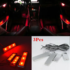 Universal Car Interior Atmosphere Lamp Strip Red 3LED Ambient Light Kit 4Pcs/Set