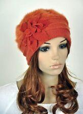 JM32 Rabbit Fur & Wool Women Winter Dress Hat Beanie Cap Beautiful Flower Orange