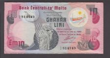 Malta banknote P. 36a-4749 10 Pounds Pfx C/2, VF We Combine