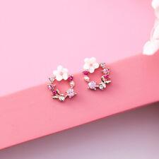 1pairs Cute Korean Colorful Rhinestone Shell Flower Circle Stud Earrings Newly