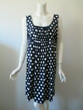 A Pea in the Pod Navy White Polka Dot Scoop Neck Sleeveless Stretch Dress L