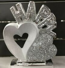 SILVER HEARTS SPARKLE ORNAMENT CRUSHED CRYSTAL DIAMOND SHELF SITTER HAPPY HEART