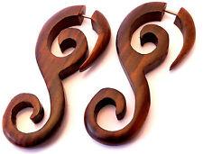 Faux Ecarteur Bois Boucle d'oreille spirale Wooden Gauge Earring Fake marron