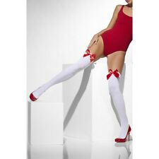 Womens White Hold Up With Red Bow Valentine Sexy Naughty Thigh High Stockings