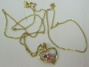 9ct Gold Necklace Chain And Heart Shape Pendant Pink And Clear Cubic Zirconia
