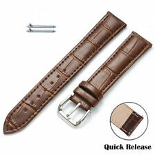Brown Croco Quick Release Leather Replacement Watch Band Strap Steel Buckle 1042