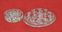2 Vintage Clear Glass Flower Frogs 16 & 11 Hole EUC