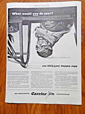 1943 Carrier Air Conditioner Refrigeration Ad WW II Theme Fighter Pilot