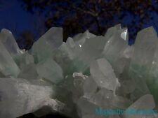 NEON GREEN__HUGE RARE Celadonite 3-D Phantom Quartz Crystal CLUSTER__Madagasgar
