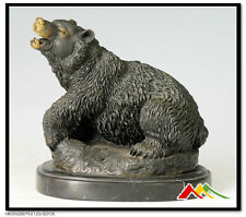 Roaring Bear Bronze Statue Sculpture, Signed: Milo
