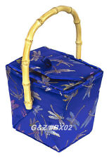Diamond Blue Chinese 'Take-Out-Box' Shape Handbag (Dragonfly Brocade)