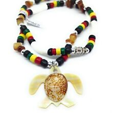 Hawaiian Mother of Pearl TURTLE PENDANT NECKLACE Clam Shell Rasta Coco Beads