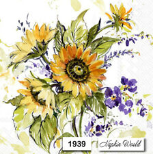 (1939) TWO Individual Paper LUNCHEON Decoupage Napkins - BUNCH of SUNFLOWERS