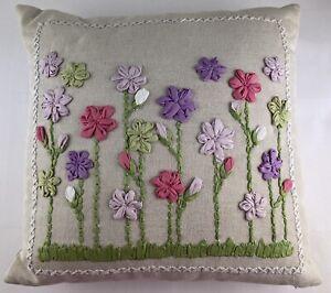 Pottery Barn Teen Pillow PB TEEN Floral Embroidered Decorative Toss Throw Linen