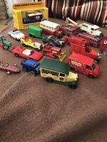 Job Lot Of Playworn Die Cast Corgi Lledo Matchbox Cars Vans Etc