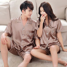 2PCS Womens Mens Satin Pyjama Set Silk Night Wear Pajamas Short Sleeve Homewear