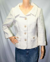 WHITE HOUSE BLACK MARKET Women's 10 Blazer Tweed Cream Ivory Tan Ivory
