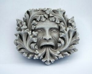 Green Man Pagan Gothic Wall Plaque Greenman Medieval Stone Outdoor Ornament Gift