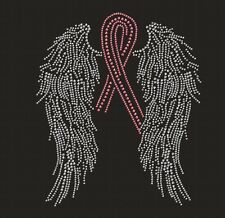 Breast Cancer Wings Ribbon Pink Rhinestone Iron on Transfer       OO60