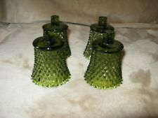 4 Vintage Home Interiors Votive Cups Green Diamond Point