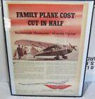 Org Vintage Framed Large (8.5 x 11.0) Advertising- Taylorcraft Airplane- 1945
