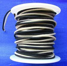 "50 ft"" Vintage Cloth Push Back 22 ga Guitar Wire Black & White Tinned"