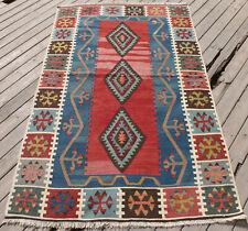 Turkish Kilim 42''x73'&# 039; Kayseri Wool Oriental Rug Vintage Area Rug 107x187cm
